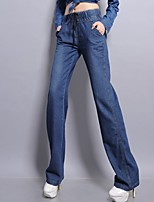 Women Cotton and Denim Loose Pants Waist Stretchy String Casual Plus Size Jeans