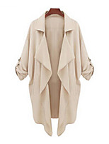 Women's Casual Cute Medium Long Sleeve Long Trench Coat (Polyester)