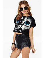 Women's Print/Solid Black T-shirt , Round Neck Short Sleeve