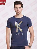 Masculino Camiseta Casual/Esporte Estampado Algodão Manga Curta Masculino
