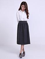 Women's Casual Micro-elastic Medium Midi Skirts (cloth)