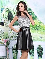 Dress A-line Jewel Knee-length Chiffon/Satin Dress