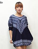 Women's Print Multi-color T-shirt Long Sleeve