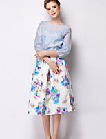 Women's Floral White Skirts , Casual Knee-length