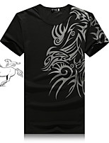 Men's Short Sleeve T-Shirt , Cotton Blend Casual/Work/Sport/Plus Sizes Print