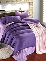 H&C 100% Tencel 1200TC Duvet Cover Set 4-Piece Solid Colors Joint NWY