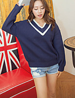Women's Blue/White Pullover , Casual/Party Long Sleeve
