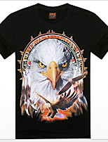 Men's 3D O-Neck Short-sleeve Eagle Printing T-Shirt (Cotton)