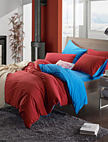 H&C Fannel Duvet Cover Set 4-Piece Two Solid Colors Joint NWY5