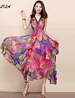 Women's Print Short Sleeve Maxi Dress