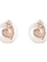 Glamorous Hear Top Semiround Shell Pearl Stud Earrings