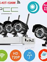 4ch wifi Kit nvr h.264 (4 pezzi wireless 1.0MP 3,6 millimetri di visione notturna giorno intemperie telecamera ip), p2p
