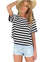 Women's Vintage Sexy Casual Cute Inelastic Short Sleeve Regular T-shirt (Cotton)