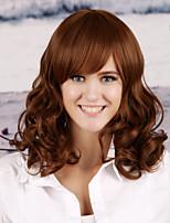 Women Synthetic Light Auburn Wig Deep Wave 16 Inch