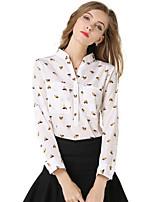 Damen Hemd Chiffon Langarm Hemdkragen