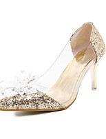 Women's Shoes Synthetic Stiletto Heel Pointed Toe Pumps/Heels Casual Silver/Gold