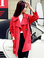Women's Solid Pink/Red Coat , Vintage/Casual Long Sleeve Wool Blends