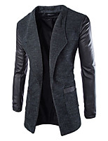 Men's Casual Pure Long Sleeve Long Trench coat (PU/Tweed)