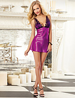 Women Polyester Bow Sexy Lace Deep V Srtape Chemises & Gowns Nightwear