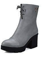 Zapatos de mujer - Tacón Robusto - Punta Redonda / Botas a la Moda - Botas - Vestido - Semicuero - Negro / Gris / Bermellón