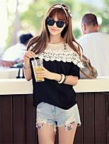 Women's Casual Micro-elastic Short Sleeve Regular Blouse (Lace/Cotton Blends)
