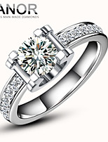YANOR  1 Carat Silver Plated Platinum SONA Tauren Diamond Ring For Women Wedding