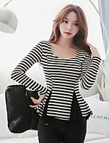 Women's Sexy/Casual/Cute/Party/Work/Plus Sizes Micro-elastic Long Sleeve Regular Blouse (Cotton)
