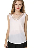 Women's Summer Casual  Mesh Spliced Sleeveless Regular T-shirt