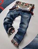 Men's Slim Feet Straight jeans trousers Denim Pants
