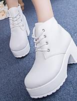 Zapatos de mujer Semicuero Tacón Robusto Tacones Pumps/Tacones Casual Negro/Blanco
