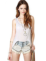 Women's Sexy Casual Cute Plus Sizes Micro Elastic Sleeveless Long Shirt (Cotton)