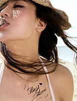 5Pcs Waterproof Butterfly English Pattern Temporary Body Art Tattoo Sticker