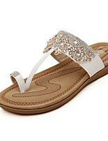 Women's Shoes Faux Leather Flat Heel Toe Ring/Round Toe Sandals Casual Pink/White