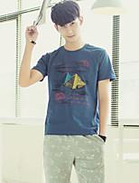 Men's Fashion Casual Printed Cotton Short-sleeved T-shirt