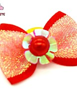 FUN OF PETS® Lovely Ribbon Style  Flower Decorated Rubber Band Hair Bow for Pet Dogs  (Random Color)