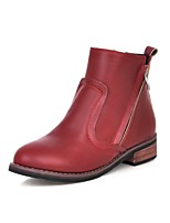 Women's Shoes Chunky Heel Fashion Boots/Round Toe Boots Dress/Casual Black/Red/Beige