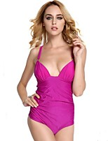 Women's Solid Swimwear Straped One-pieces (Polyester)