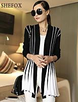 Women's Casual/Work/Plus Sizes Stretchy Medium Long Sleeve Cardigan (Cotton/Knitwear)SF7E01