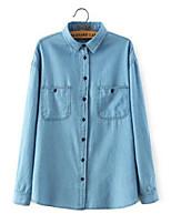 Women's Solid Blue Denim/Cotton Blends Top , Casual Long Sleeve