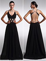Formal Evening Dress - Black Sheath/Column V-neck Floor-length Chiffon