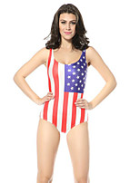 Women's High Elastic USA Flag Print Swimsuit One Size