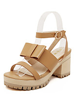 Women's Shoes Chunky Heel Comfort/Open Toe Sandals Casual Brown/White
