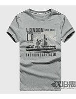 Men's Leisure London Bridge Printed Round Collar Cotton Short Sleeve T-shirt