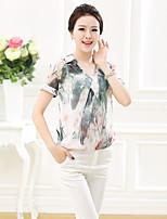 Women's Blouse , Shirt Collar Short Sleeve