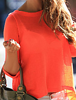 Women's Sexy Casual Cute Plus Sizes Micro Elastic Long Sleeve Regular Shirt (Cotton Blends)