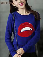 Women's Casual/Cute Micro-elastic Medium Long Sleeve Pullover (Knitwear) SF7B77