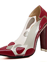 Women's Shoes Patent Leather Chunky Heel Pointed Toe Pumps/Heels Casual Black/Red
