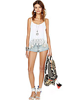 Women's Sexy Casual Lace Cute Plus Sizes Micro Elastic Sleeveless Regular Shirt (Lace/Cotton)