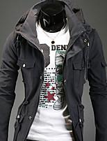 Men's Casual Pure Long Sleeve Regular Jacket (Cotton Blend)