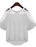 Women's Sexy Casual Lace Cute Plus Sizes Micro Elastic ½ Length Sleeve Regular T-shirt (Cotton)